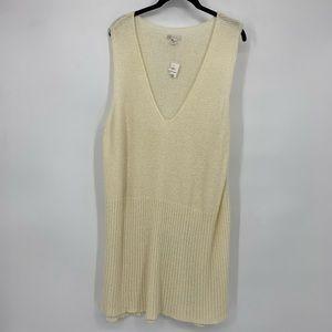 Cato Cream Sleeveless V Neck Knit Tunic